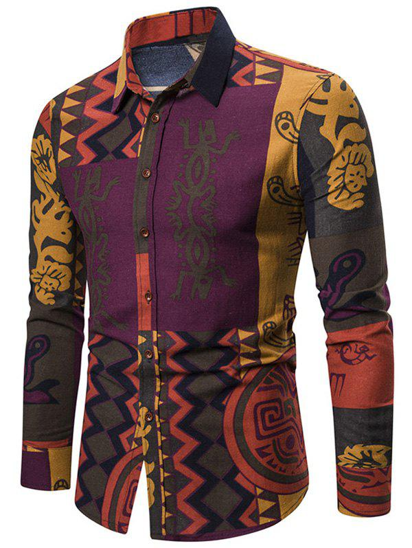 Abstract Tribal Print Button Up Long Sleeve Shirt - multicolor XL