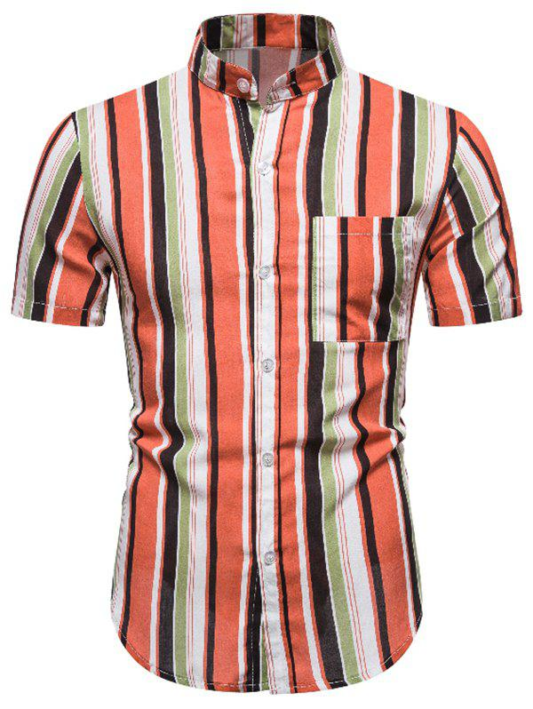 Stand Collar Striped Pocket Casual Shirt - ORANGE 2XL