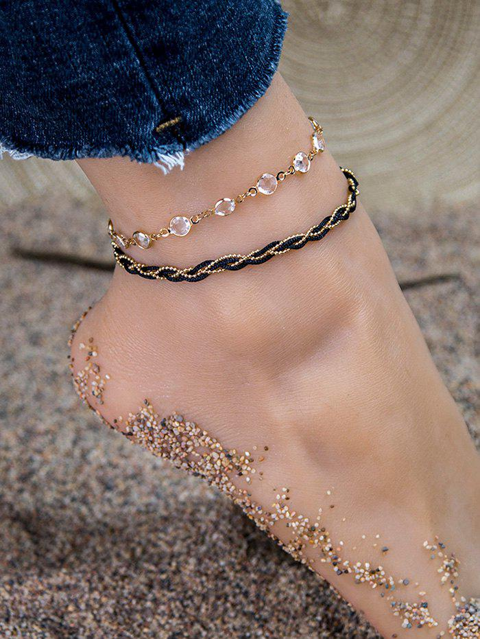 2 Piece Rhinestone Twist Rope Anklet Set - GOLDEN