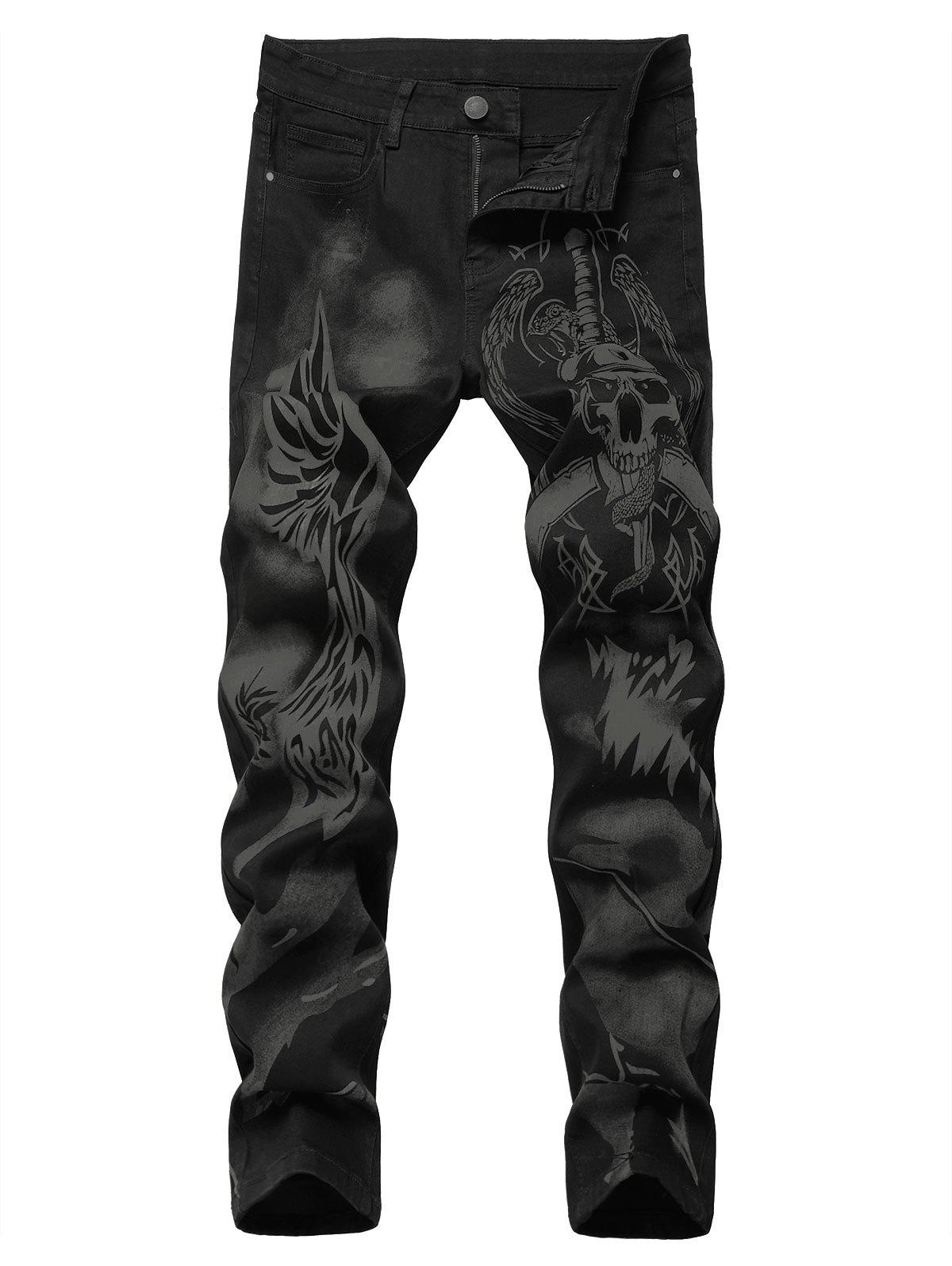 Zipper Fly Skull Print Tapered Jeans - BLACK 36
