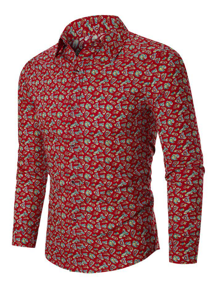 Tiny Paisley Print Button Up Long Sleeve Shirt - RED 3XL