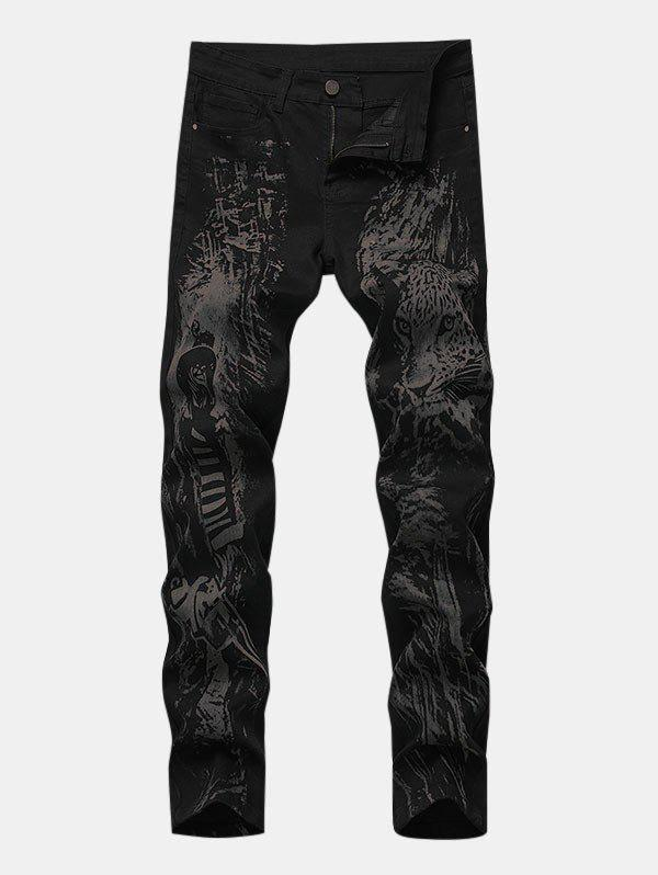 Hunter Leopard Print Zipper Fly Tapered Jeans - BLACK 38