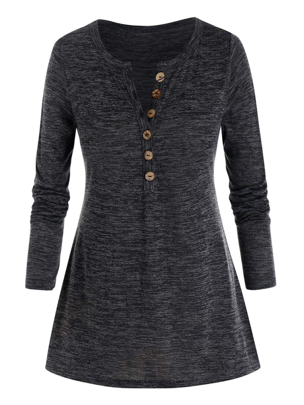 Plus Size Marled Buttoned Long Sleeve V Notch Tee - CARBON GRAY 2X