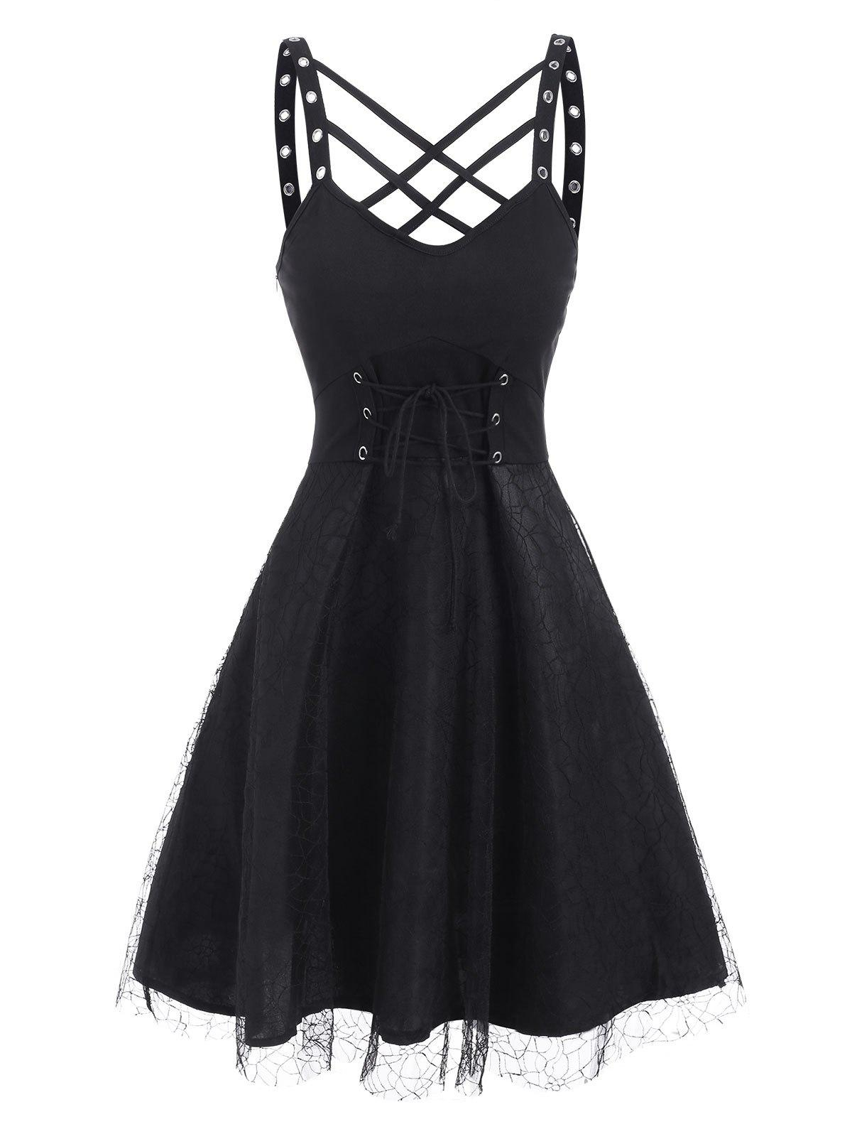 Lattice Grommets Lace-up Mesh Overlay Dress - BLACK M
