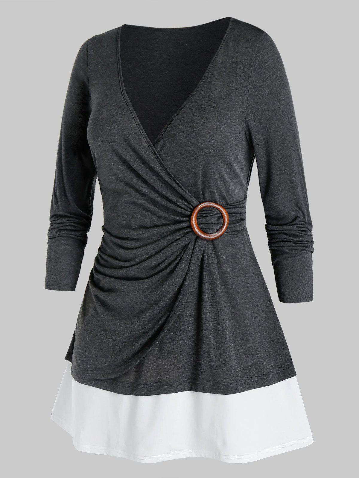 Plus Size Ruched Surplice Bicolor Long Sleeve Tee - CARBON GRAY 5X