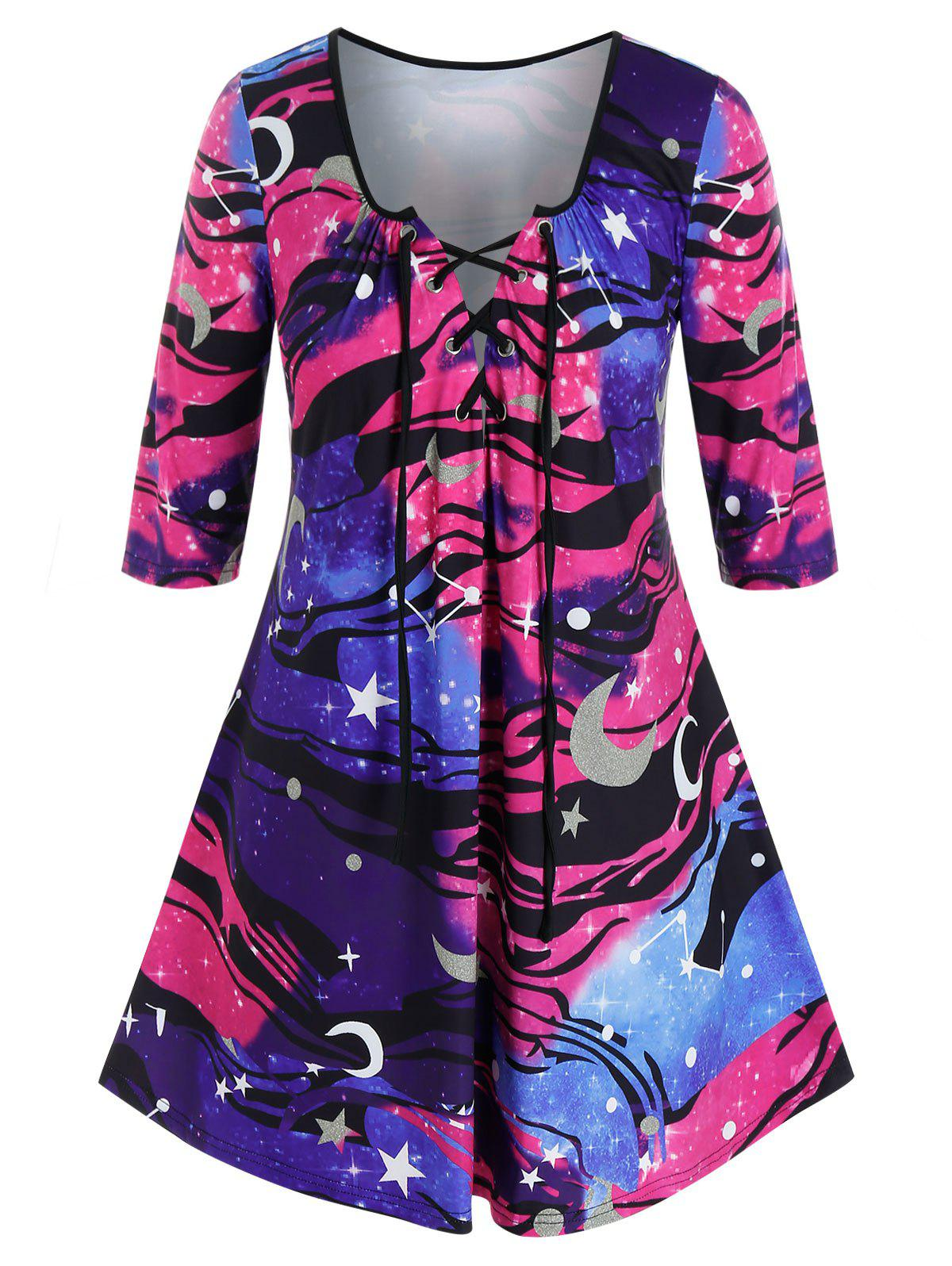Plus Size Galaxy Moon and Star Lace-up Tee - multicolor 5X