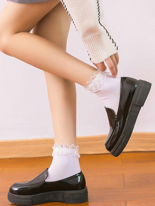 Ruffle Lace Edge Cotton Anklet Socks - WHITE