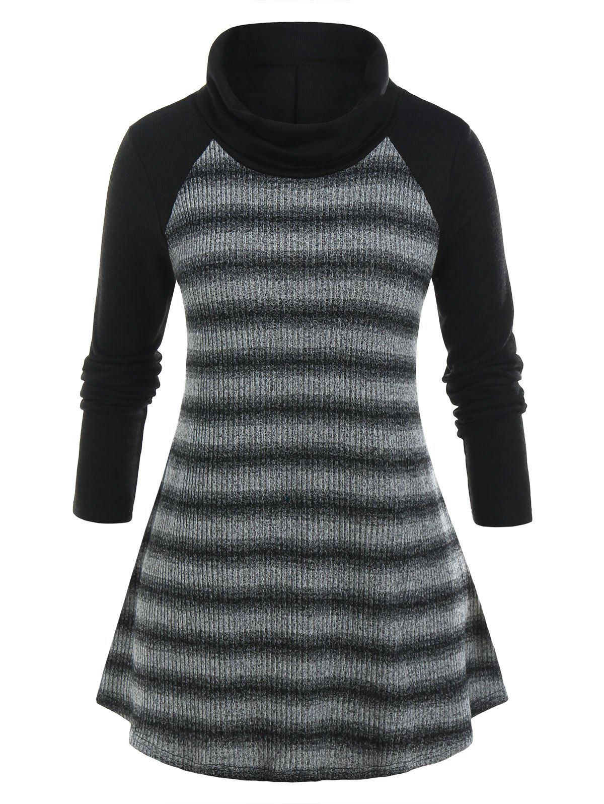 Plus Size Marled Striped Turtleneck Tunic Sweater - BLACK L