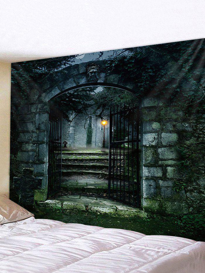 Castle Gate 3D Print Waterproof Wall Tapestry - multicolor W91 X L71 INCH