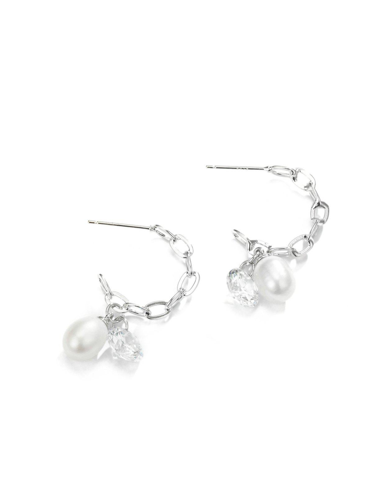Pearl Rhinestone Chain Earrings - SILVER