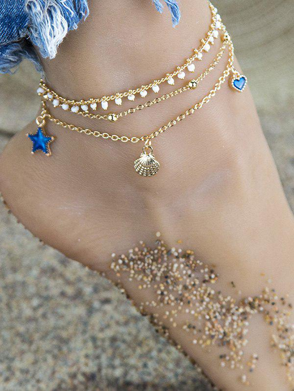 3Pcs Shell Star Heart Charm Anklet Set - GOLDEN