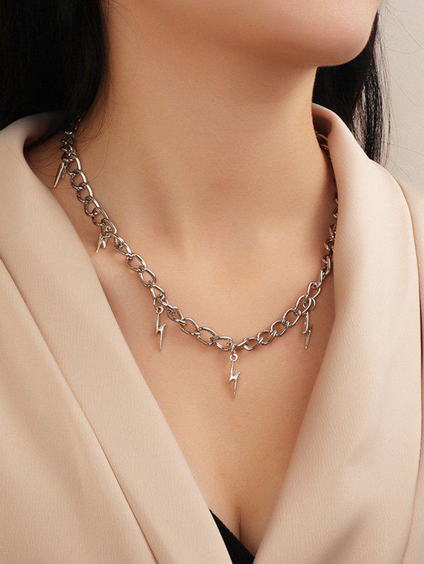 Lightning Charm Chain Necklace - SILVER