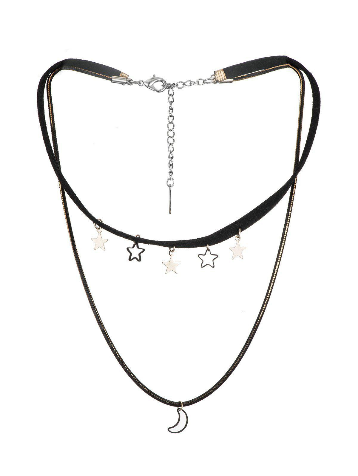 Moon And Stars Layered Cord Choker Necklace - BLACK