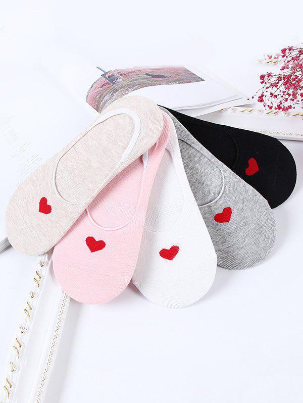 5 Pairs Heart Pattern Invisible Cotton Socks Set - multicolor A