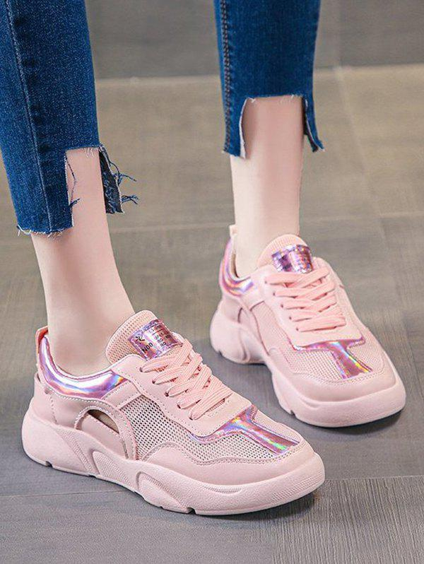 Mesh Panel Cut Out Lace-up Sneakers - LIGHT PINK EU 39
