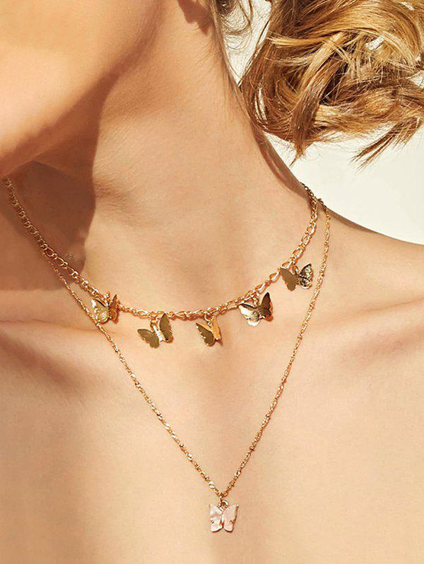 Butterfly Pendant Earrings Layers Necklace Set - GOLDEN