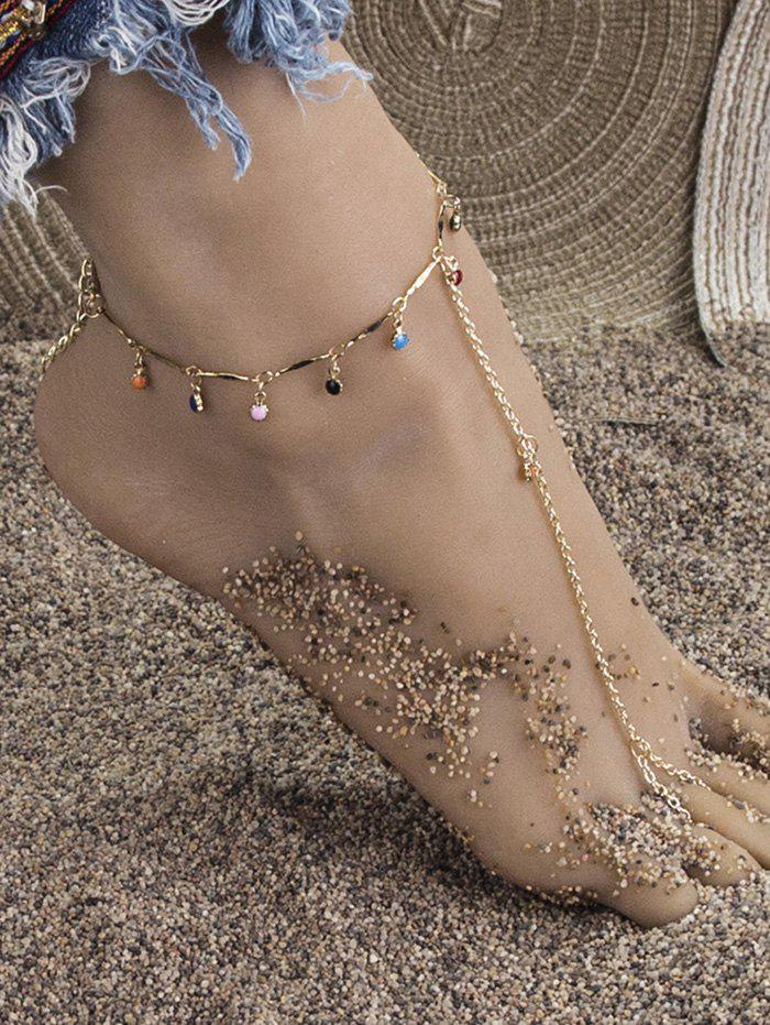 Bohemian Toe Loop Chain Charm Anklet - GOLDEN