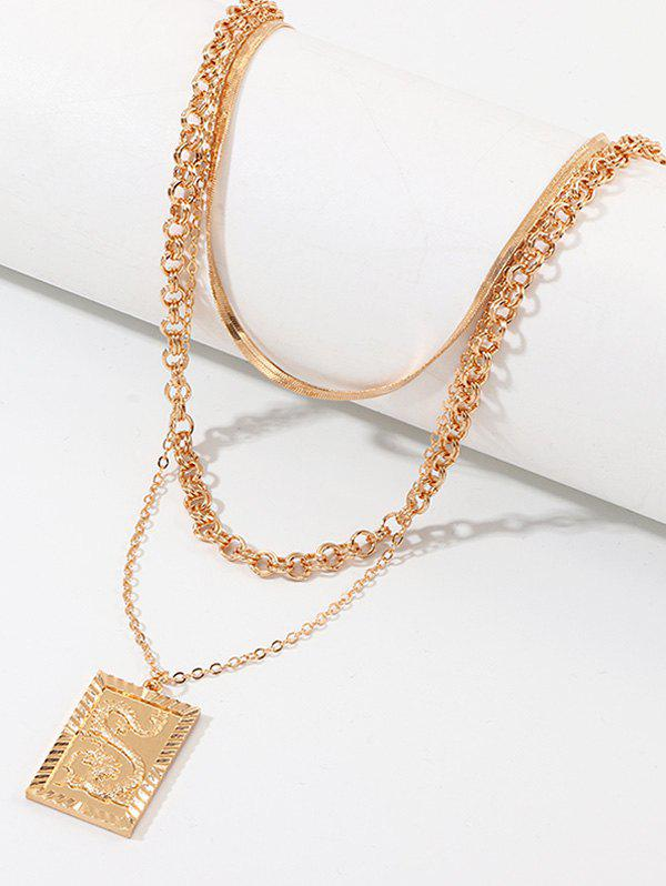 Square Dragon Pendant Multilayered Chain Necklace - GOLDEN