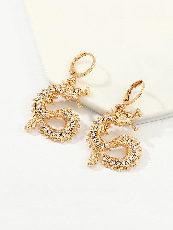 Rhinestone Chinese Dragon Clip Earrings - GOLDEN
