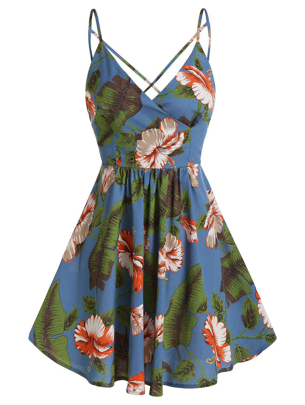 Palm Floral Print Wrap Spaghetti Strap Dress - BLUE 3XL