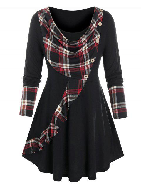 Plus Size Plaid Cowl Front Long Sleeve Tunic Tee