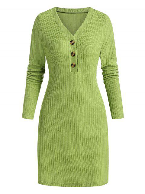 Quarter Button Ribbed Sweater Dress