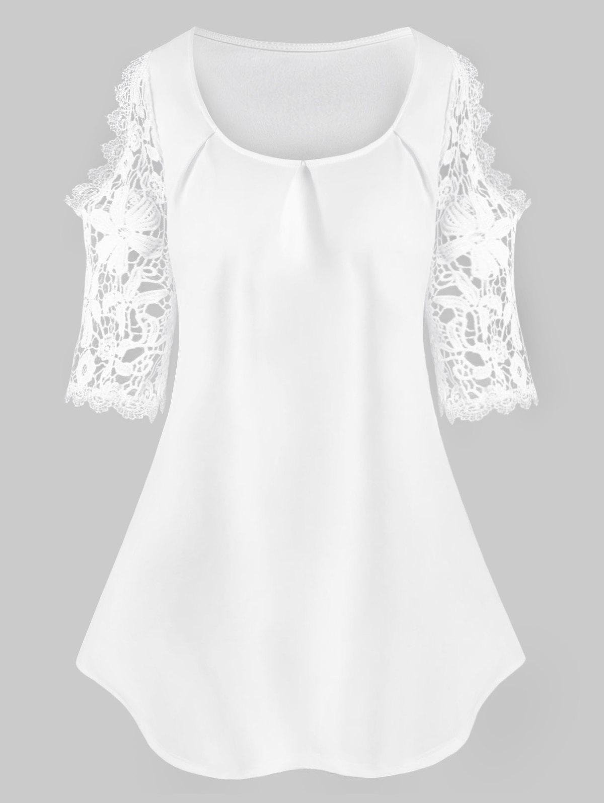Plus Size Cold Shoulder Lace Insert Tee - WHITE 2X