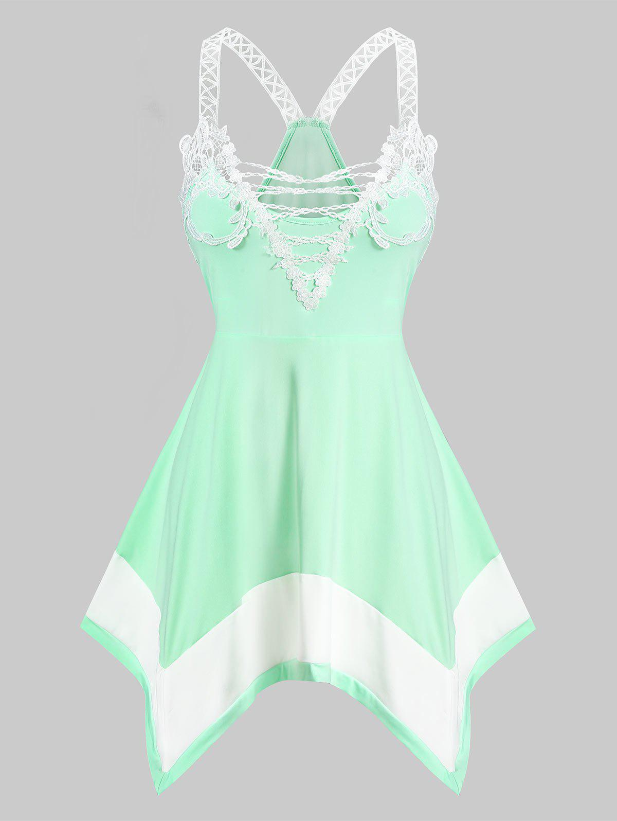 Lace Insert Contrast Handkerchief Tank Top - LIGHT GREEN M
