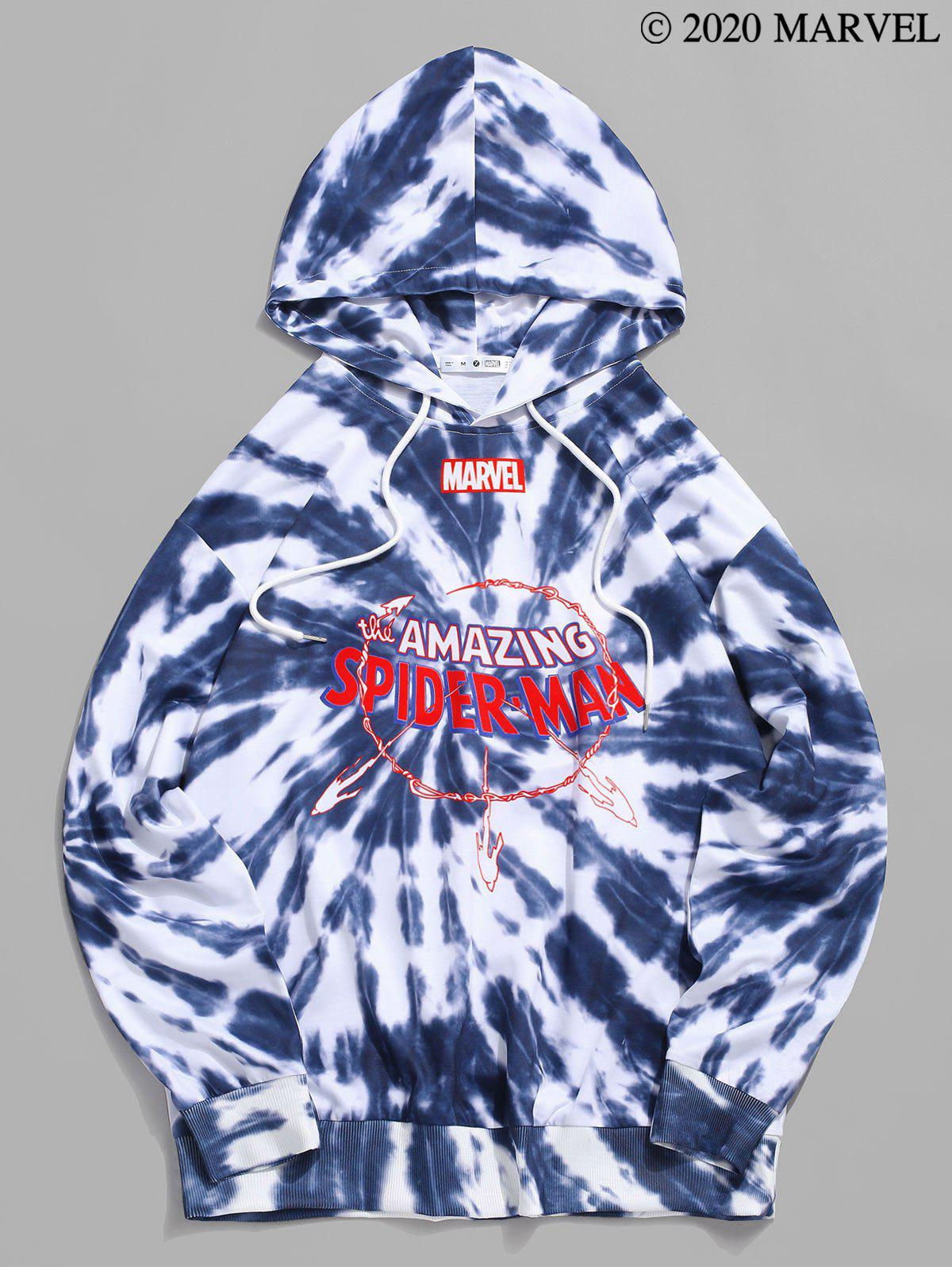 Marvel Spider-Man Letter Graphic Print Tie Dye Hoodie - BLUE GRAY S