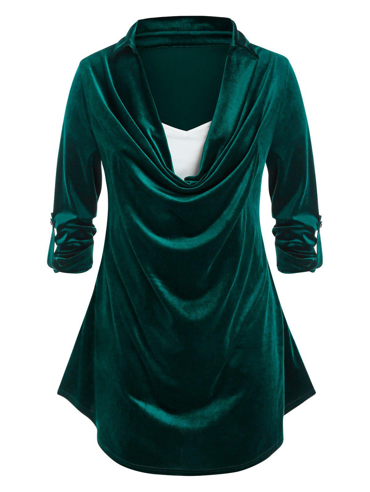 Plus Size Velvet Cowl Front Roll Up Sleeve Tee - DEEP GREEN 1X