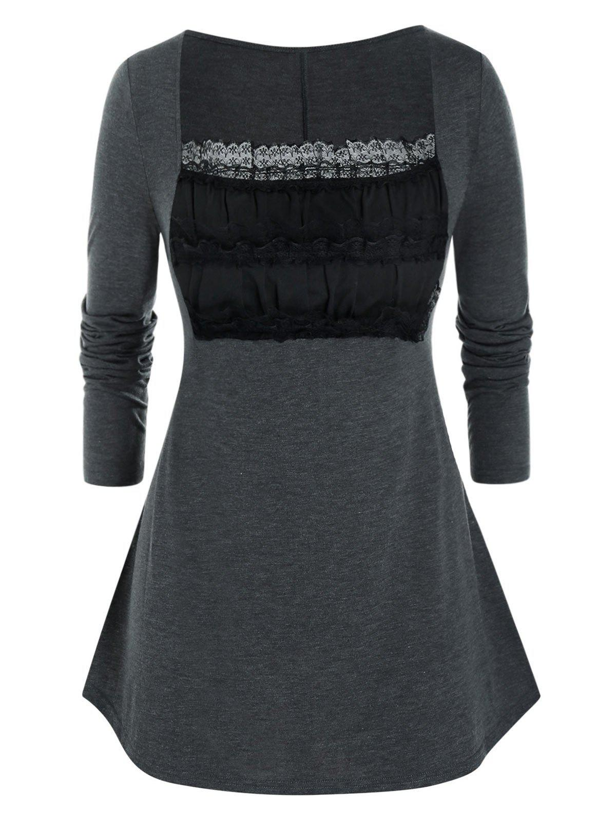 Plus Size Lace Ruched Bust Long Sleeve Tee - CARBON GRAY 5X