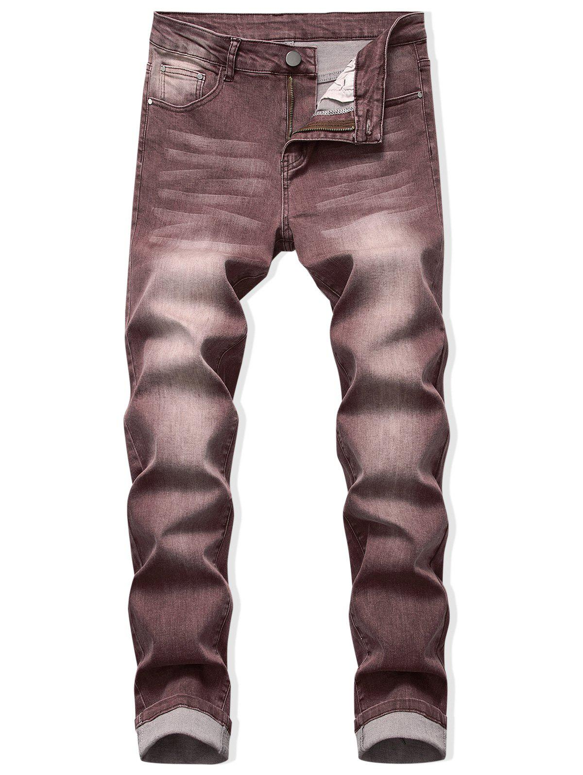 Zip Fly Long Faded Wash Casual Jeans - DEEP COFFEE 42