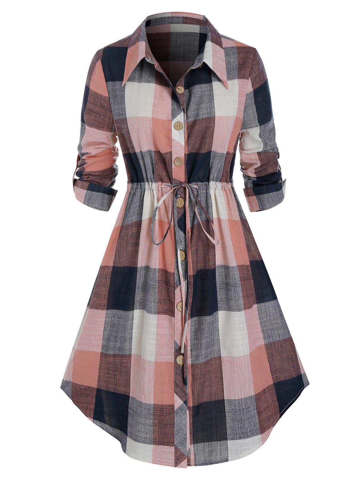Plus Size Plaid Roll Up Sleeve Drawstring Shirt Dress - multicolor 1X