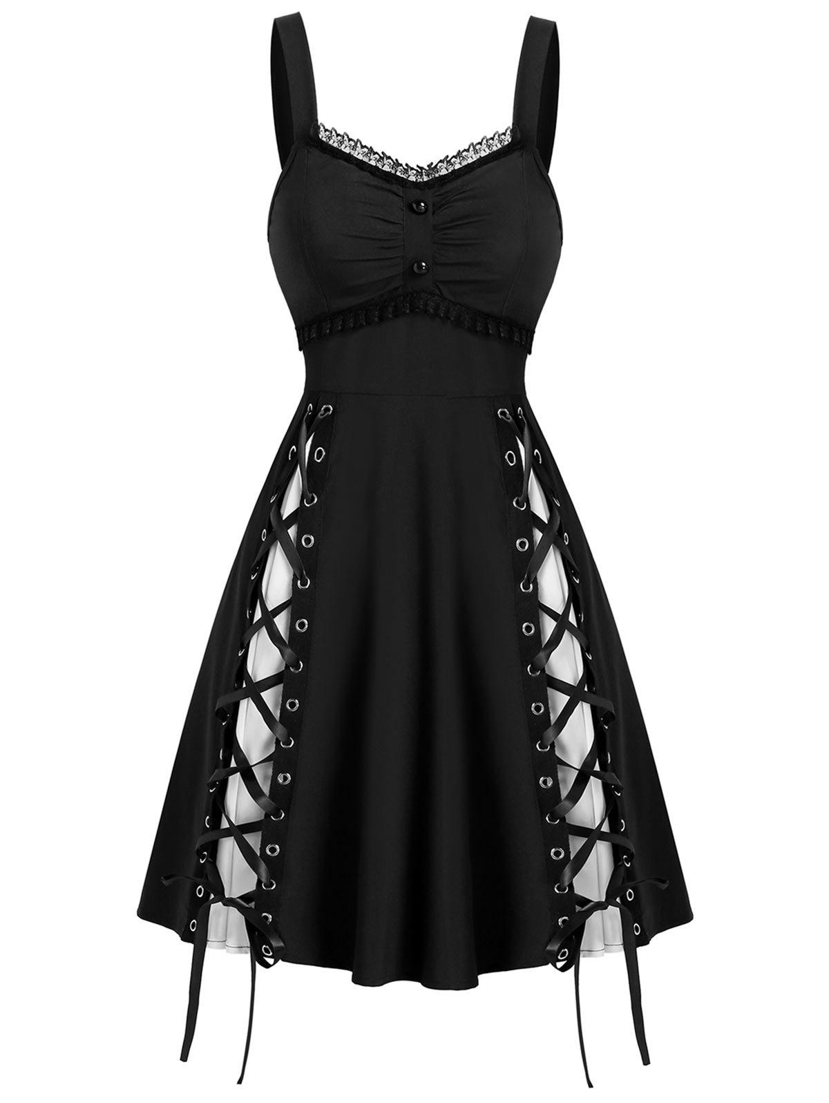 Sleeveless Lace Panel Lace-up Gothic Dress - BLACK L