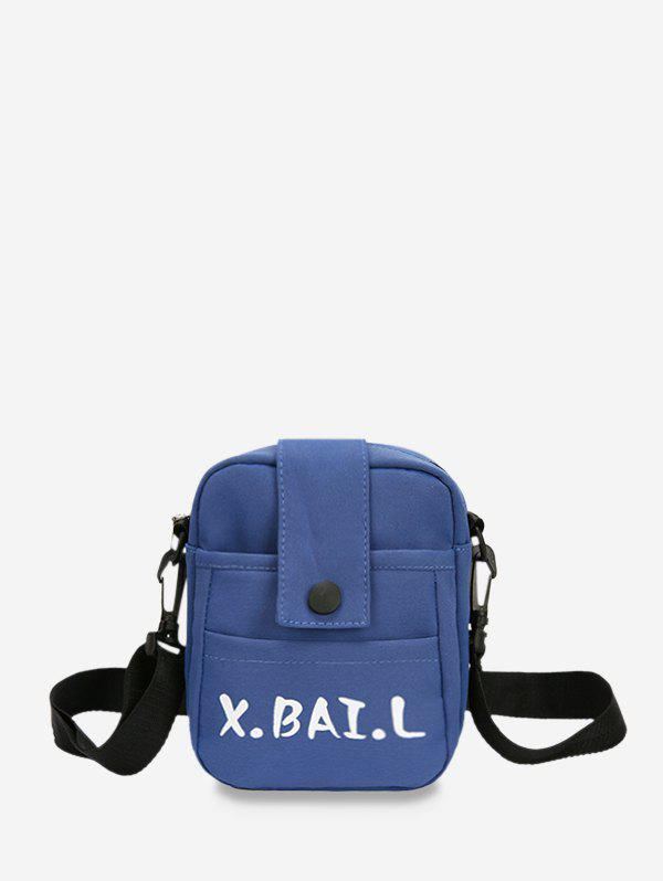 Letters Pattern Canvas Square Crossbody Bag - BLUE IVY