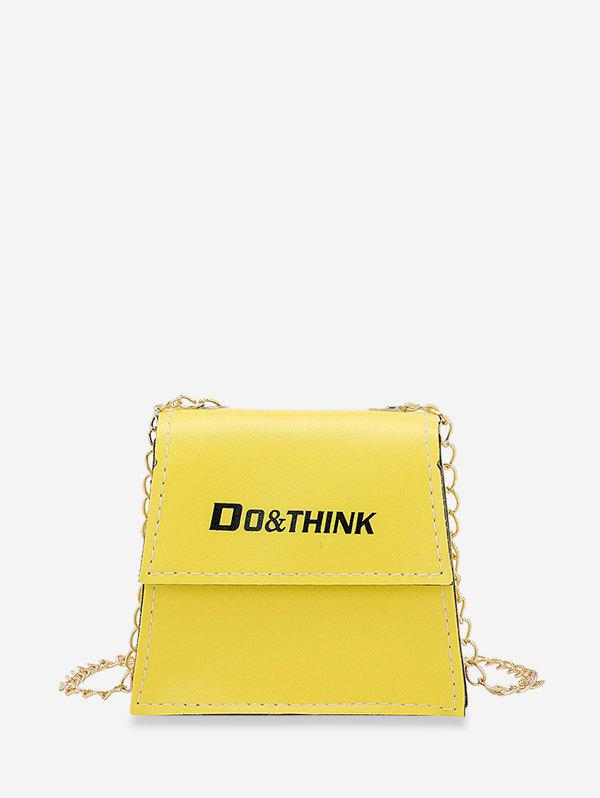Letter Print Chain Trapezoid Crossbody Bag - YELLOW