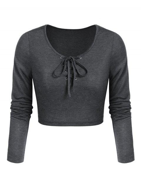 Lace-up Heathered Cropped T-shirt