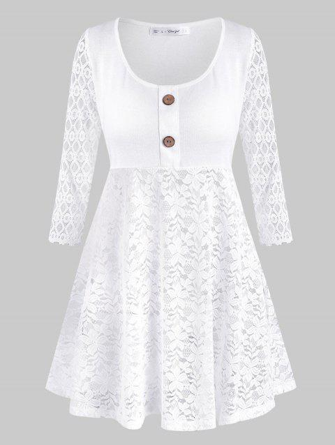 Lace Panel Mock Buttons Plus Size Tunic Top