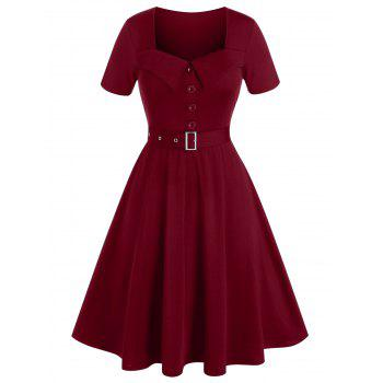 Plus Size Square Neck A Line Belted Retro Dress