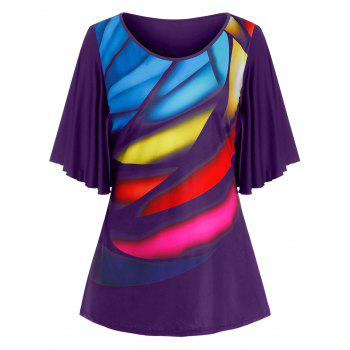 Plus Size Colorful Pattern Butterfly Sleeve Tee