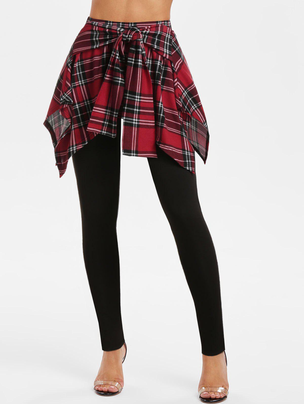 Plaid Print Tie Front Skirted Pants - BLACK L