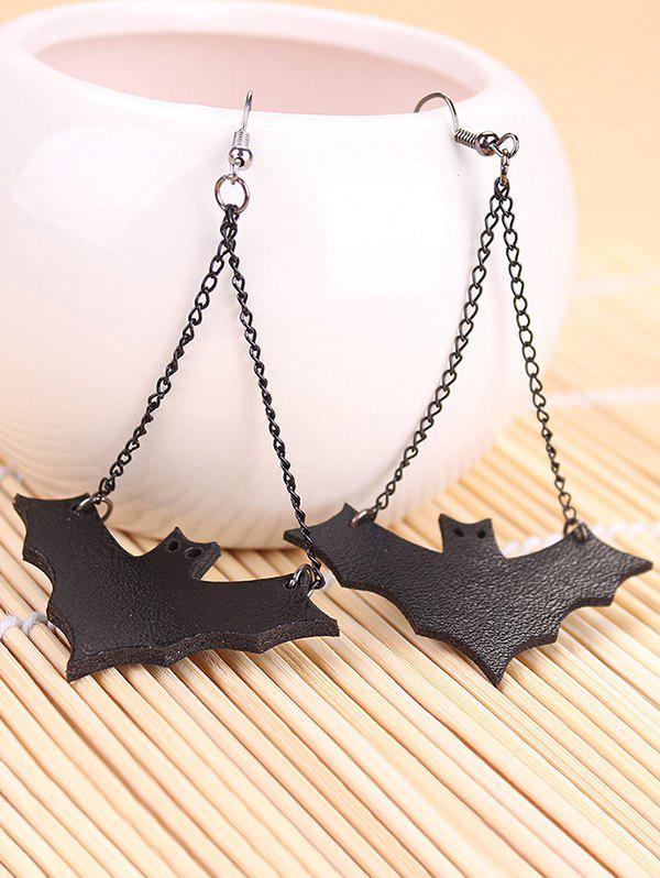 Halloween Leather Bat Chain Earrings - BLACK