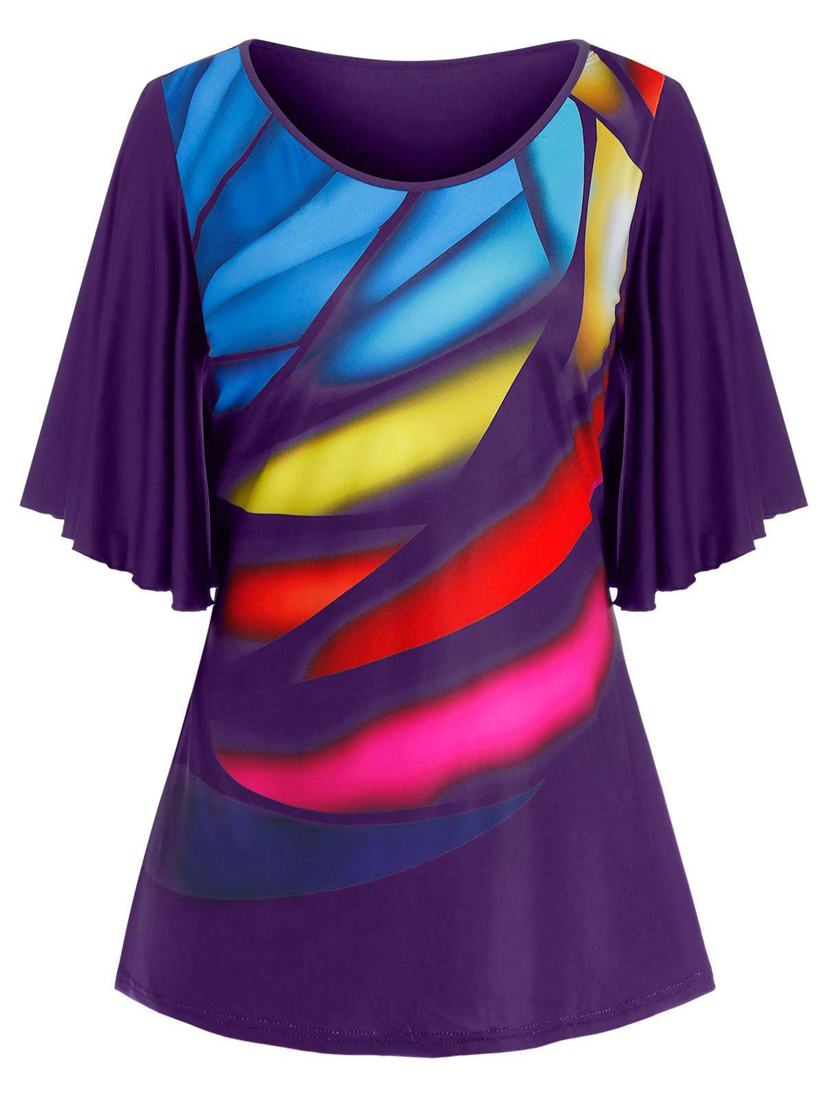 Plus Size Colorful Pattern Butterfly Sleeve Tee - CONCORD 1X