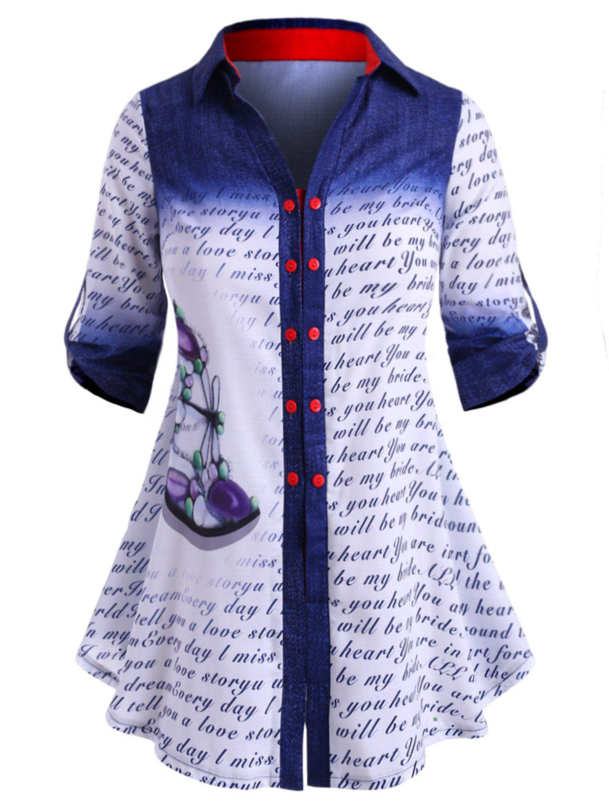 Dragonfly Letter Printed Double Breasted Plus Size Shirt - BLUE 5X