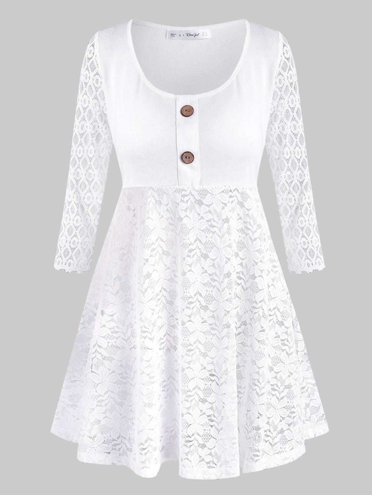 Lace Panel Mock Buttons Plus Size Tunic Top - WHITE 1X
