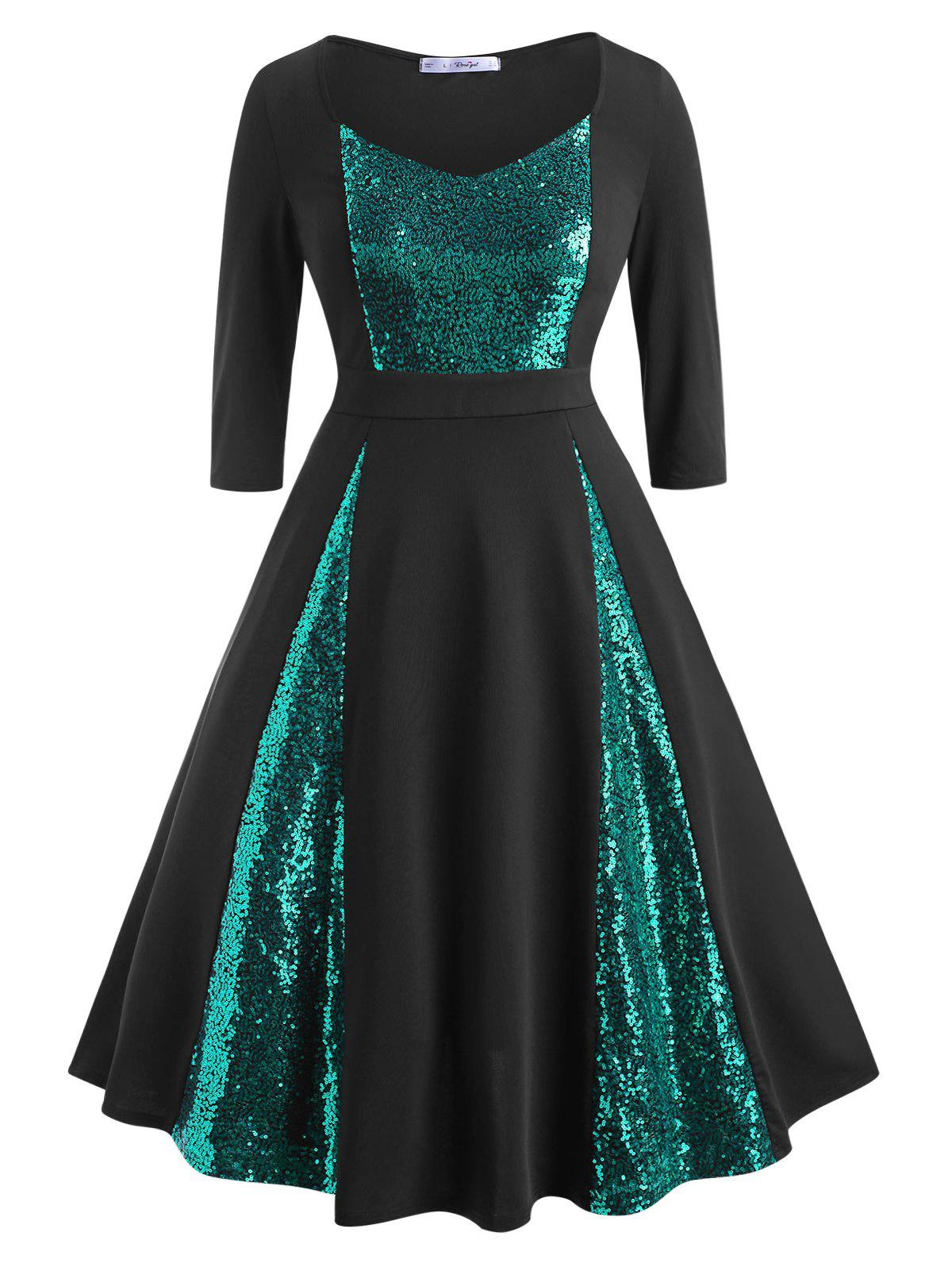 Sequins Panel Scoop Plus Size Prom Dress - GREEN 4X