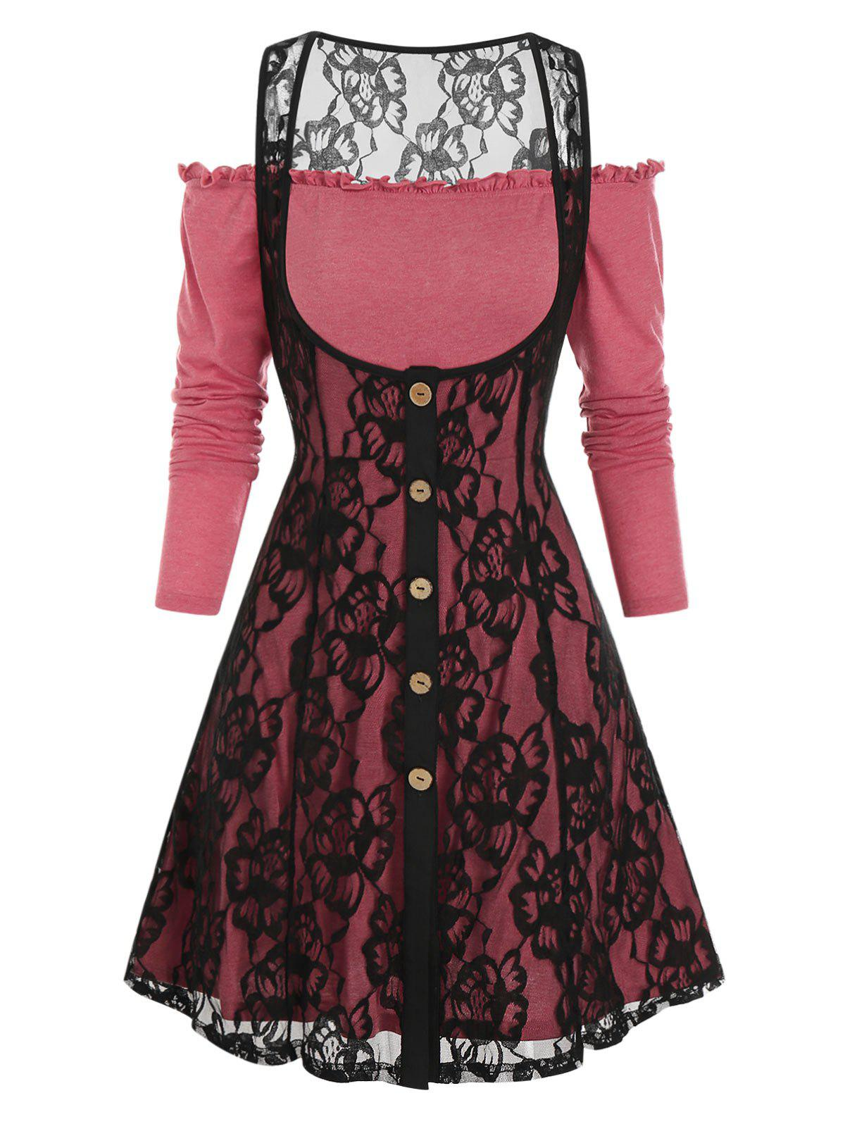 Exposed Shoulder Overlay Lace Two Piece A Line Dress - CHERRY RED M