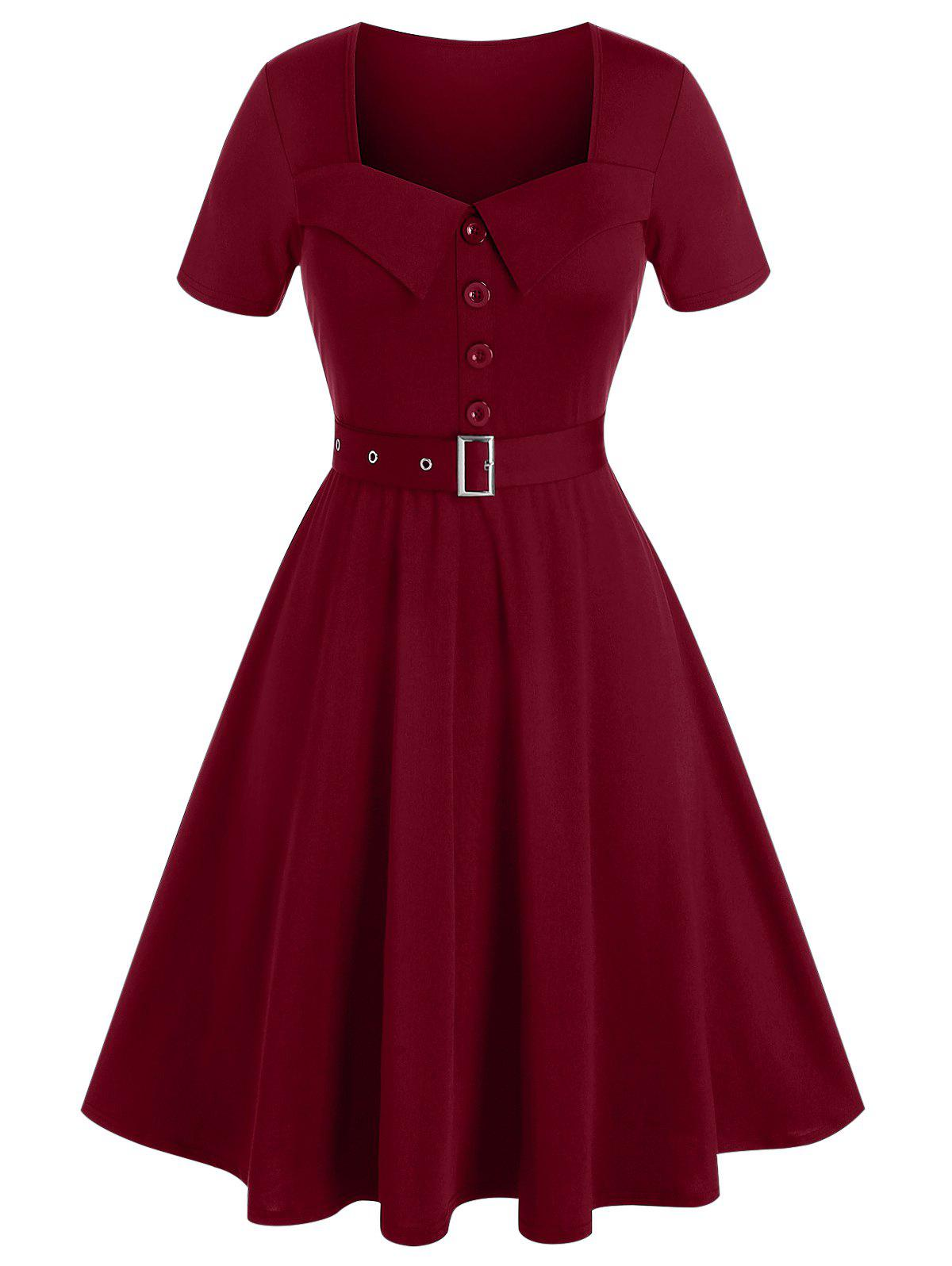 Plus Size Square Neck A Line Belted Retro Dress - RED WINE 2X