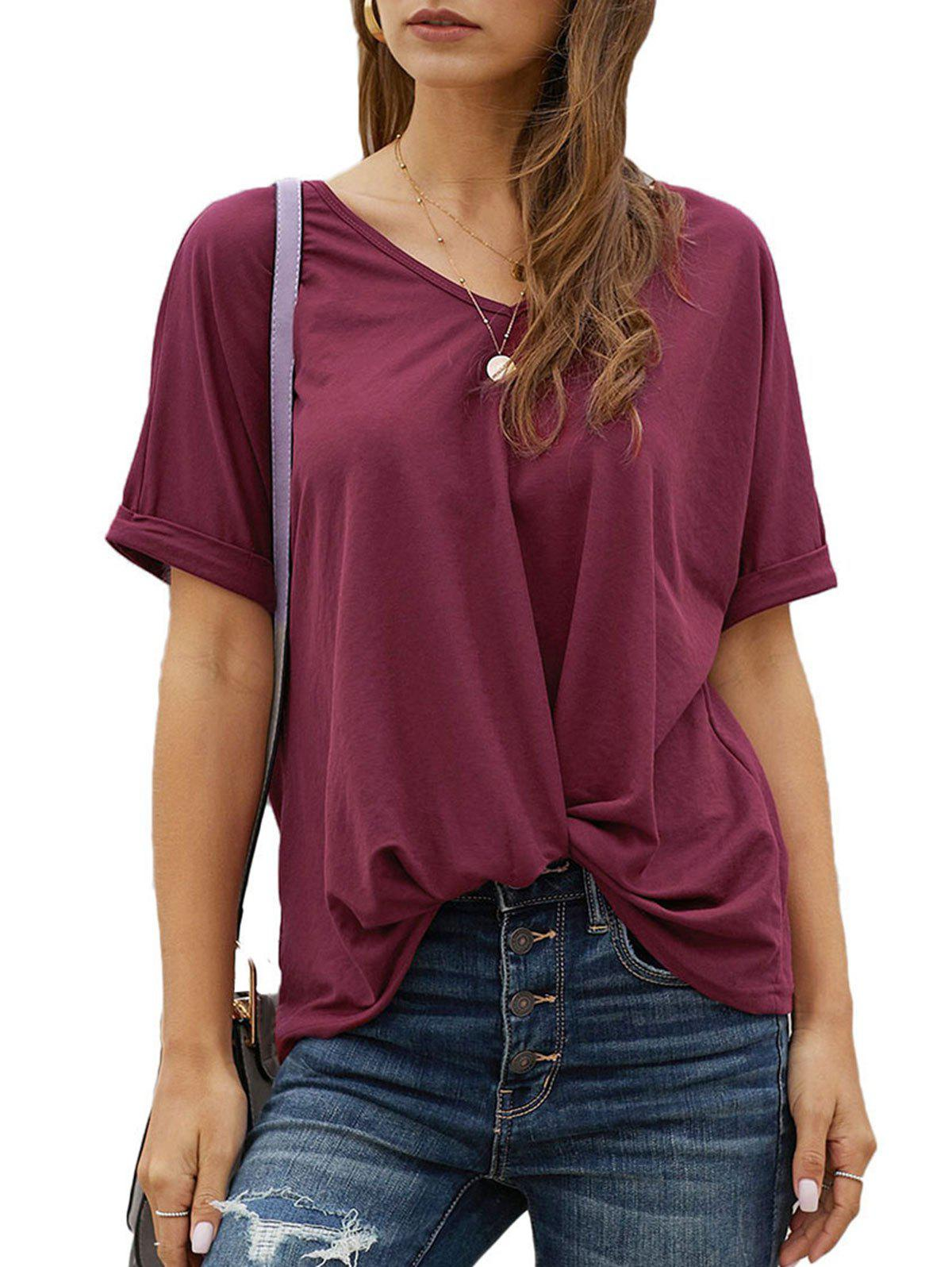 Twisted Hem Rolled Cuff V Neck T-shirt - RED M