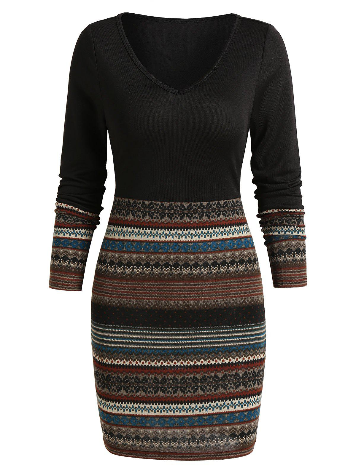 Tribal Print Mini Bodycon Dress - BLACK XL